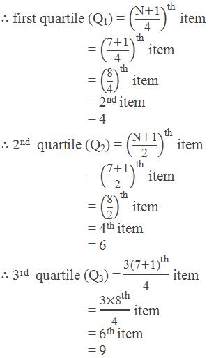 "∴ first quartile (Q1) = ((""N"" +""1"" )/""4"" )^""th""  item          = ((""7"" +""1"" )/""4"" )^""th""  item          = (""8"" /""4"" )^""th""  item          = 2nd item          = 4 ∴ 2nd  quartile (Q2) = ((""N"" +""1"" )/""2"" )^""th""  item          = ((""7"" +""1"" )/""2"" )^""th""  item          = (""8"" /""2"" )^""th""  item          = 4th item          = 6 ∴ 3rd  quartile (Q3) = (""3"" 〖""(7"" +""1)"" 〗^""th"" )/""4""  item          = (""3"" 〖×""8"" 〗^""th"" )/""4""  item          = 6th item          = 9"