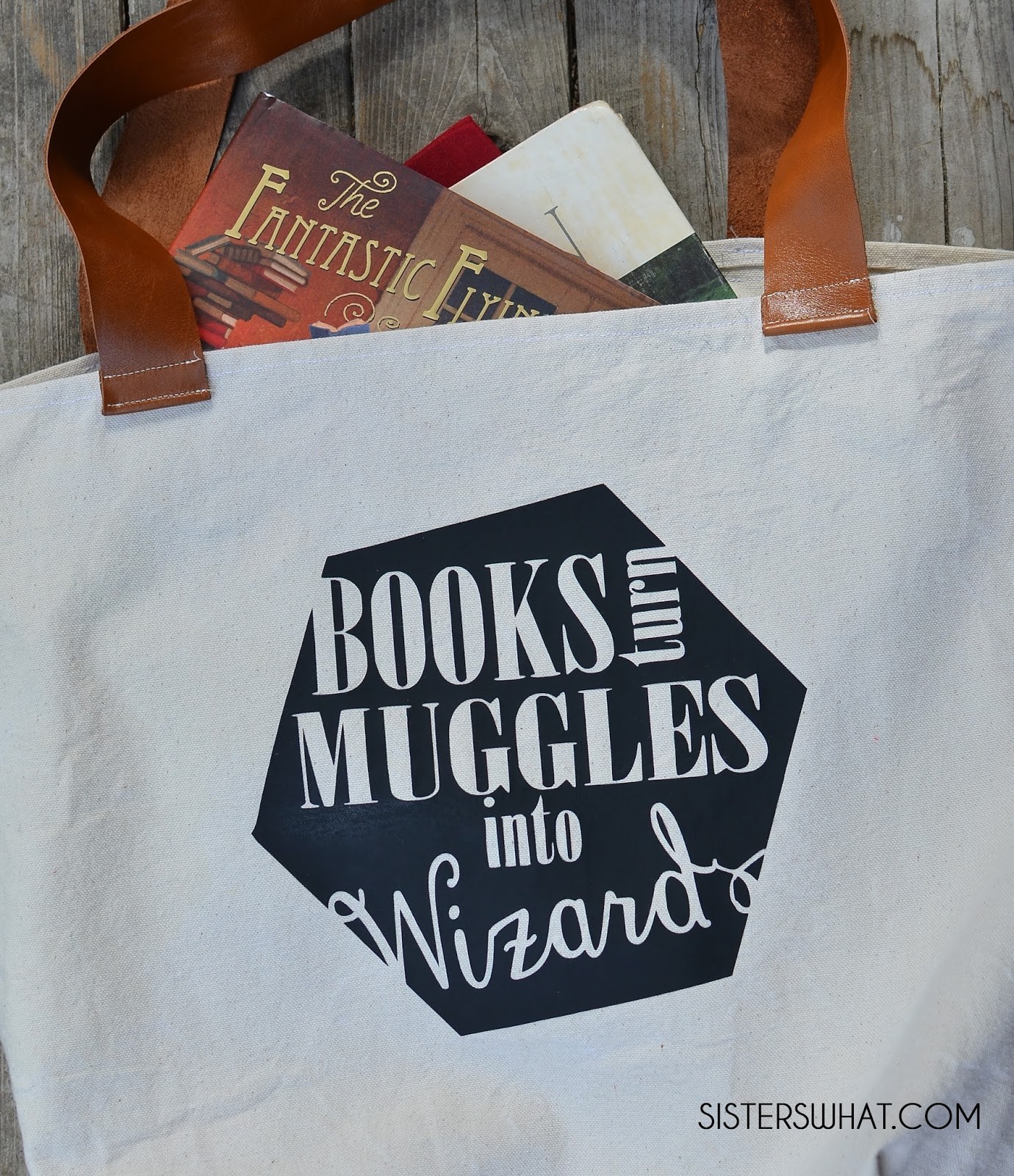library book bag: books turn muggles into wizards