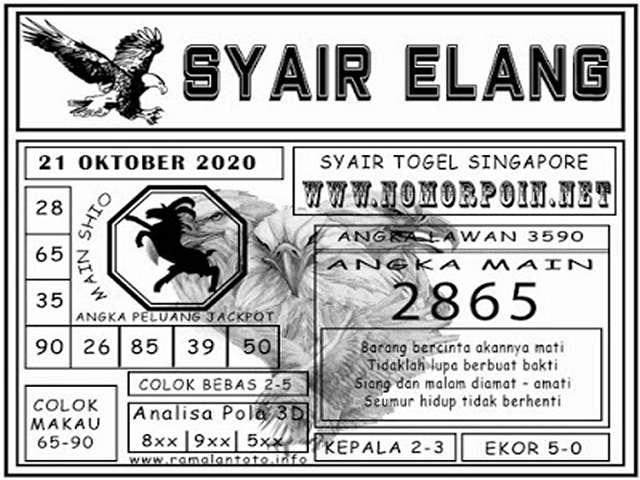 Kode syair Singapore Rabu 21 Oktober 2020 135