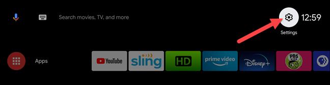 تلفزيون android حدد قائمة الإعدادات