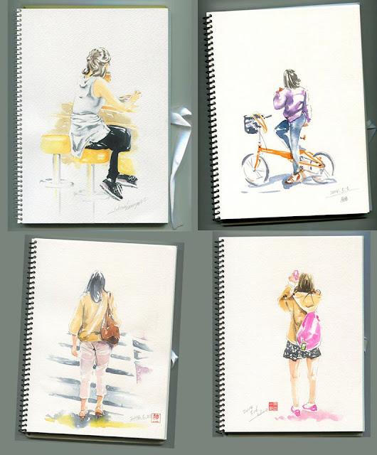 水彩画、街、スケッチ、女性、習作、観察、歩行。自転車、 、水彩、透明水彩、手描き、挿絵、イラスト、絵、イラストレーター検索、イラストレーター一覧、イラスト制作、イラスト