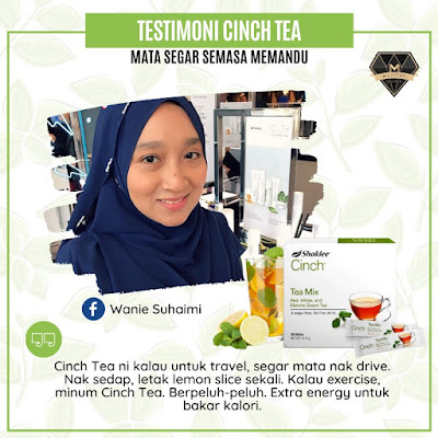 Cinch® Tea Mix sangat popular terutama bagi mereka yang sedang mencari minuman untuk meningkatkan metabolisma, tenaga badan, untuk mengurangkan inci dan kurus terutama di bahagian perut dan peha serta bagi mereka yang terlalu ketagih dengan minuman manis dan minuman 3 dalam 1. Selain itu, ia juga teh pilihan bagi mengatasi masalah terlalu letih dan mengantuk serta peneman ketika perlu travel jauh dan memandu dalam jarak yang jauh dan lama.  Pengenalan Cinch® Tea Mix Shaklee  Teh ini dikenali sebagai Cinch® ENERGY Tea Mix. Produk yang sangat eksklusif dan juga turut dikenali sebagai teh hilangkan mengantuk. Gabungan 3 jenis teh iaitu >> Teh Putih, Teh Merah dan Teh Hijau Redka.  Dalam sekotak Cinch® Tea Mix, mengandungi 28 energy sachets. Cara bancuhan yang sangat mudah, boleh disediakan dengan air sejuk atau panas. Tiada kandungan gula (zero sugar) dan memiliki bau yang sangat harum. Cinch® Tea Mix minuman terbaik bagi menggantikan nescafe dan air kaffein. Gabungan 3 Jenis Teh : Tingkatkan Tenaga & Metabolisma Serbuk Teh Hijau Redka (Redka Green Tea Powder) Ekstrak Teh Merah (Red Tea Extract) Teh Putih (White Tea)  Cadangan Cara Bancuh Cinch® Tea Mix  Masukkan 1 sachet ke dalam air sejuk atau air panas >> Siap untuk di minum.  Boleh campur dengan madu/lemon Boleh bancuh terus dalam air mineral dan minum Keistimewaan Cinch® Tea Mix dan Kelainannya Berbanding Teh Lain Selamat dan semulajadi Penggalak tenaga semulajadi (energy booster) Tambahan taurina yang terbukti secara penyelidikan untuk meningkatkan tenaga dan ketahanan badan Alternatif terbaik bagi menggantikan minuman berkaffein, soda atau minuman manis Tanpa gelatin Tiada perisa dan perasa tiruan Tiada bahan pewarna dan pengawet Tiada gula dan sebarang bahan pemanis Fungsi dan Kebaikan Cinch® Tea Mix Shaklee Untuk menggantikan minuman tinggi kaffein Lebih berkhasiat daripada minuman kaffein Sumber penggalak tenaga Memberikan rangsangan kepada badan untuk penghasilan tenaga Membantu mengurangkan inch loss Memeca