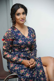 Kannada Actress Krushi Stills in Floral Blue Dress at IRA Movie Press Meet  0006.jpg