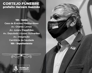 Despedidas ao prefeito Herzem Gusmão: confira detalhes do velório e sepultamento.
