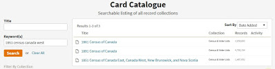 Screen capture from Ancestry.ca showing the keywords and search result for looking for the 1851 Census of Canada West.