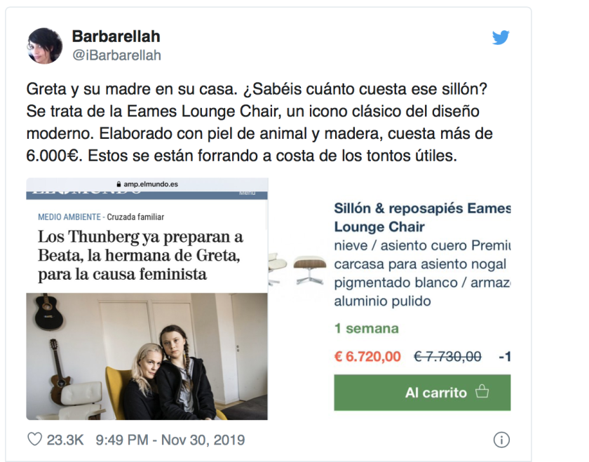 Pillan a Greta Thunberg y a su madre con un sillón de cuero animal de 6.000 euros