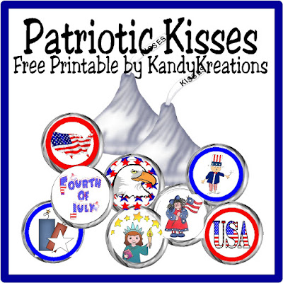 Enjoy the fireworks this 4th of July with a little taste of chocolate. These patriotic kiss labels will brighten your holiday celebration and leave you smiling.