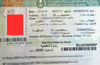contoh visa ziarah arab saudi yang tertempel di paspor