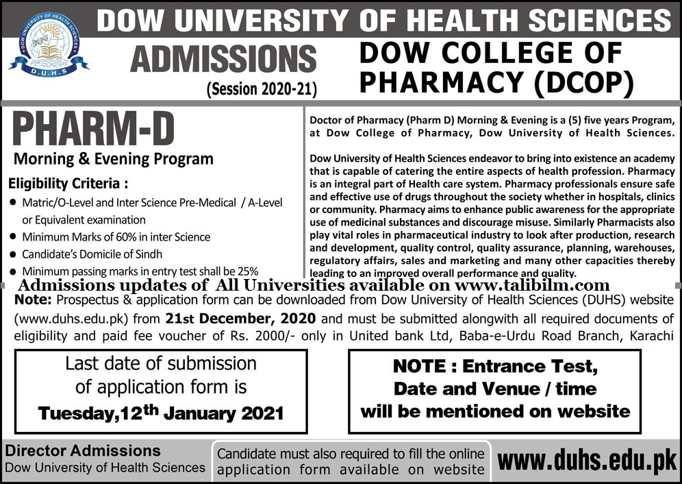 Admissions Open for PHARM-D in DOW College of Pharmacy Karachi for  year 2021