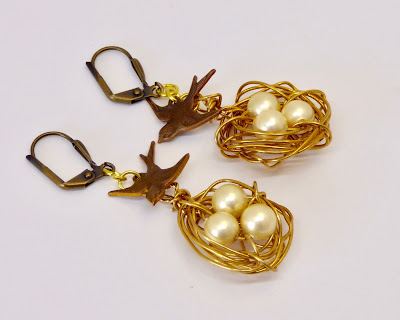 Bird Nest Earrings by BayMoonDesign
