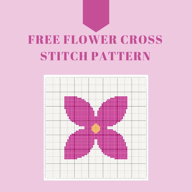 Pink flower - free cross stitch pattern