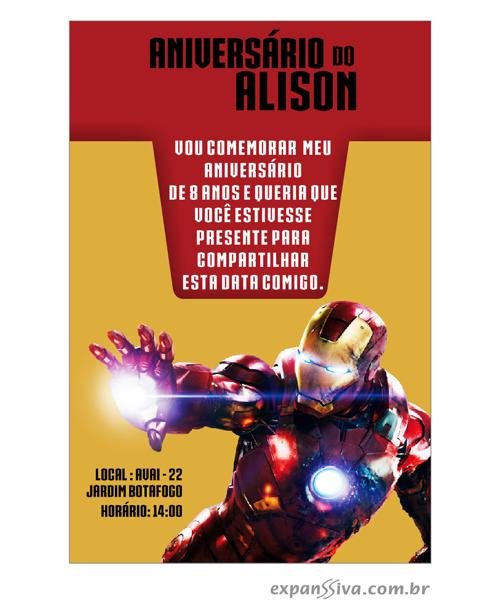 Convites de Aniversário do Homem de Ferro - 01