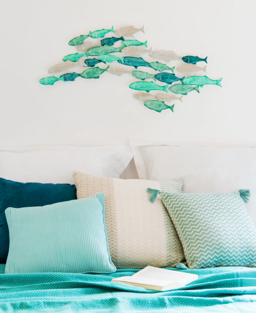 Blue Green Shoal of Fish Wall Art