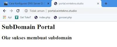 Subdomain Portal Berhasil di konfigurasi