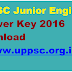 UPPSC Junior Engineer Answer Key 2016 Download @ www.uppsc.org.in