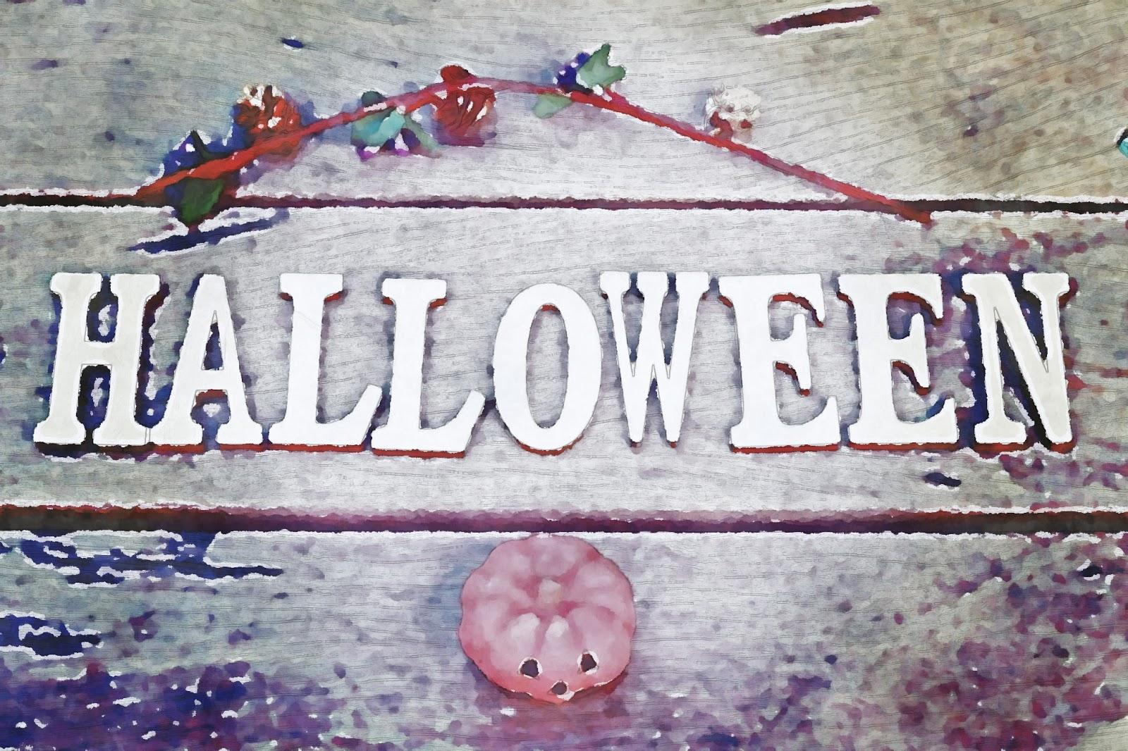 水彩画のハロウィンの文字