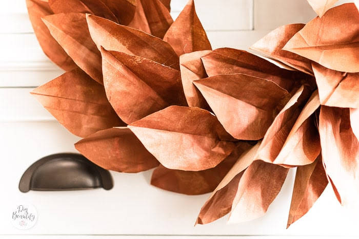 DIY Copper Magnolia Wreath from Paper Bags