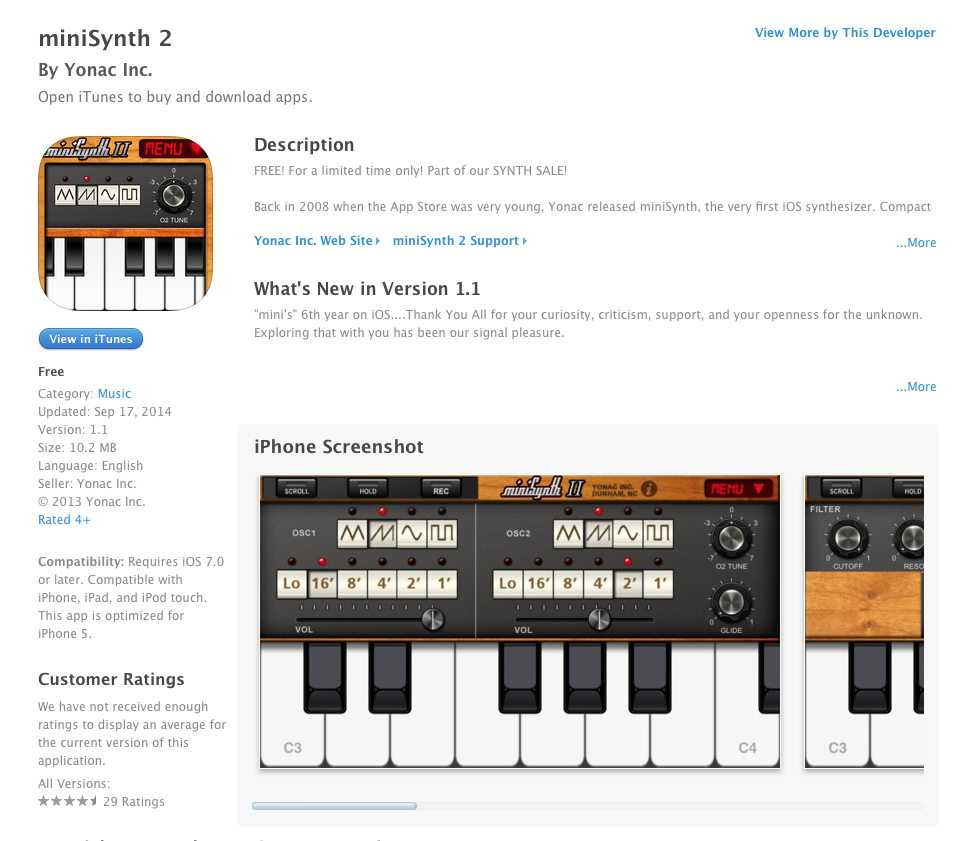 UCET Free iOS App Today: miniSynth 2 - UCET