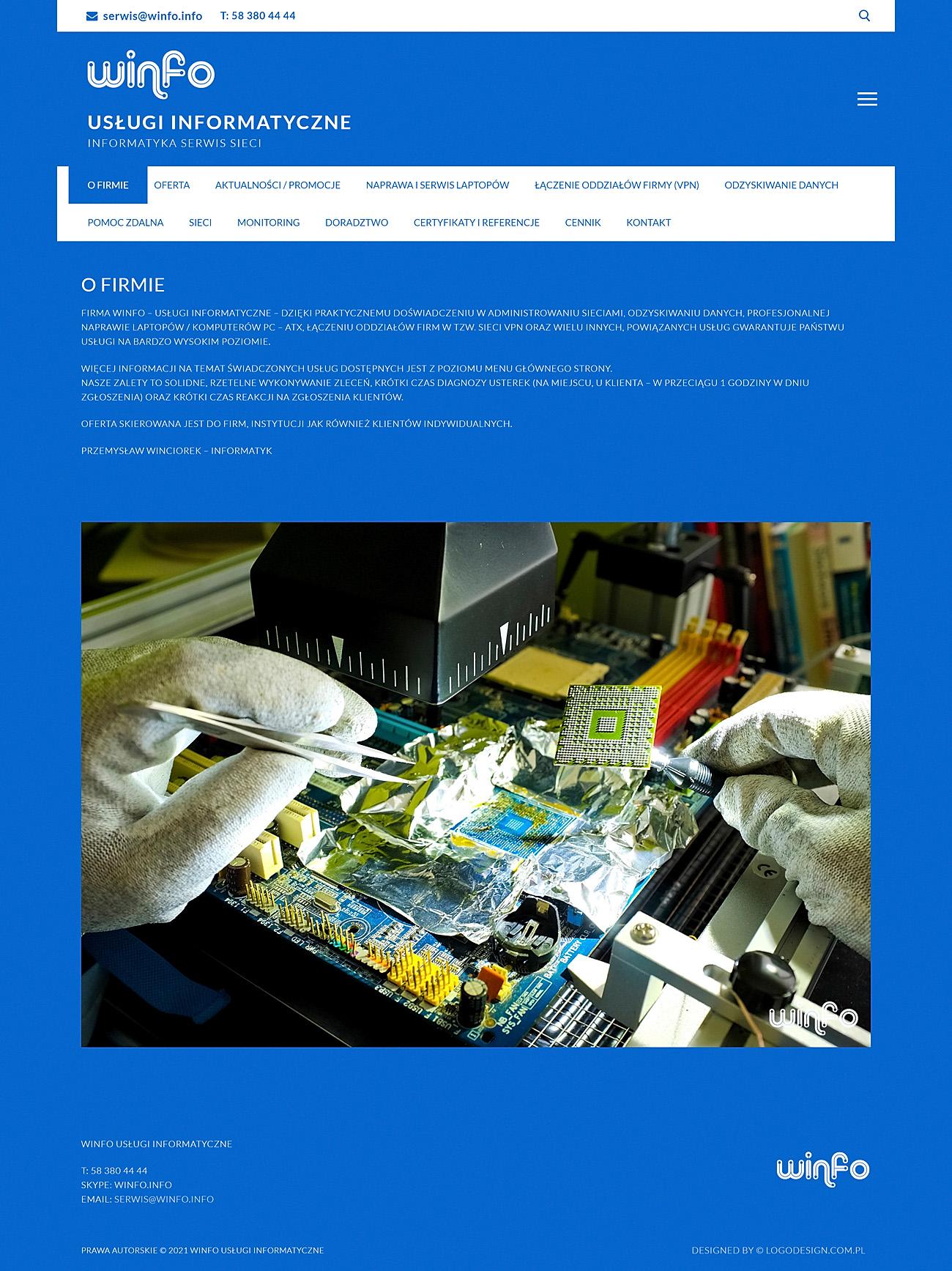 Witryna internetowa dla Winfo - Informatyka Serwis Sieci