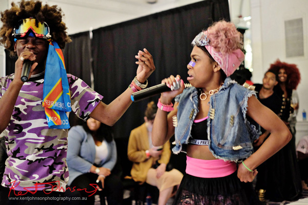 Benny and Kandi singing together - King Imprint & Kandi Reign Dance It Up LIVE at NYFW - Photographed by Kent Johnson for Street Fashion Sydney.