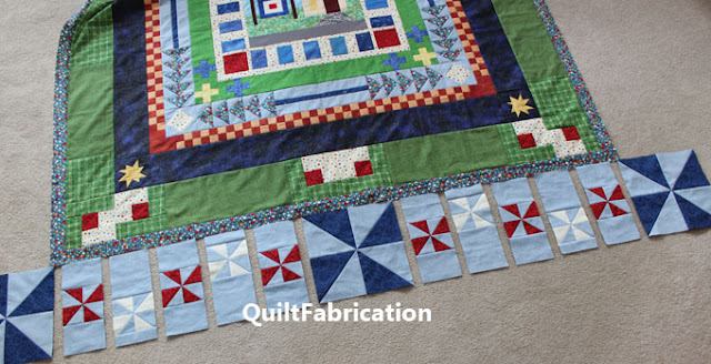 blue dot transition border in a quilt