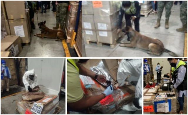Patrón emput...do no corono, tumban su merca Colombiana de más de mil kilos de cocaína en el Aeropuerto Internacional de la Ciudad de México