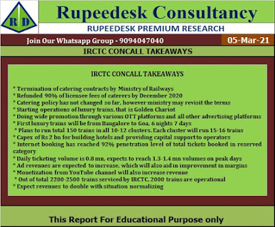 IRCTC CONCALL TAKEAWAYS - Rupeedesk Reports - 05.03.2021
