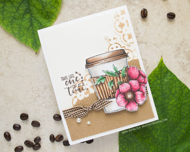 "This pretty coffee themed handmade card, is perfect for any kind of occasion.  Created with the Unity Stamps set ""One Sip at a Time"" and colored in with Fun Stampers Journey Colorburst pencils."