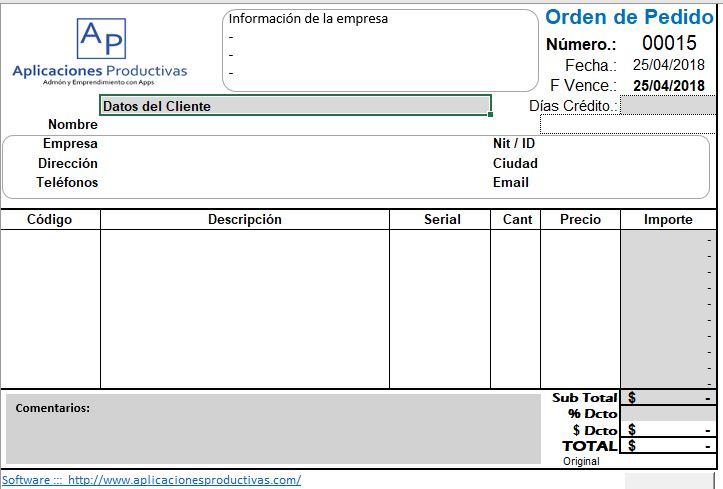 formato de factura con serial para venta de equipos electrónicos