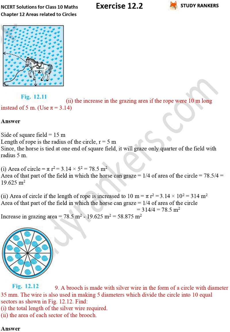 NCERT Solutions for Class 10 Maths Chapter 12 Areas related to Circles Exercise 12.2 Part 3