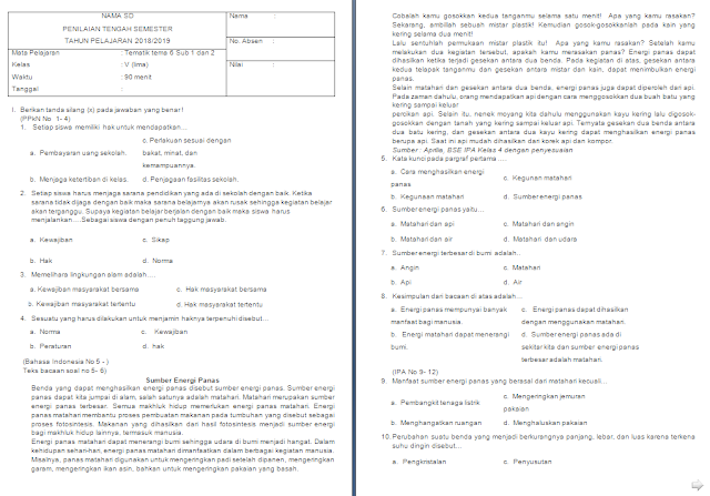 Soal UTS kelas 5 SD/MI Tema 6 Subtema 1-2