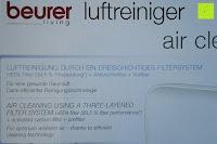 Verpackung Seite: Beurer LR 300 Luftreiniger mit HEPA Filter für 99,5% Filterleistung, ideal bei Heuschnupfen und zur Allergievorbeugung