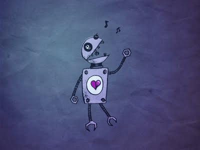 Cartoon singing robot on blue paper textured background