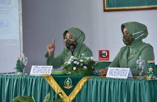 Ibu Ketua Persit KCK Koorcab Rem 141 PD XIV/Hsn, Pimpin Pertemuan Gabungan Anggota Persit Kartika Chandra Kirana