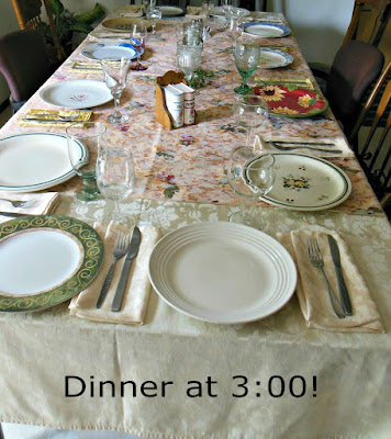 Offering suggestions for your own Sunday Dinner at 3:00.