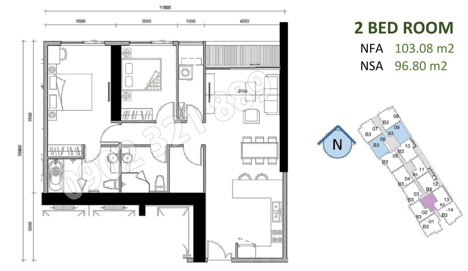 mặt bằng căn hộ sunwah pearl 2 phòng ngủ B3-06 và B3-09