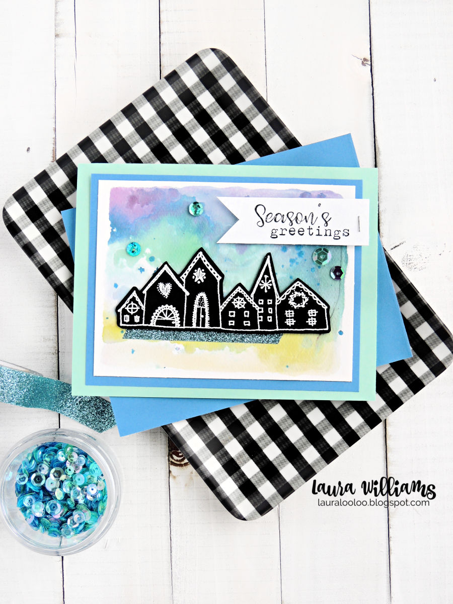 Use the Nordic Town stamp from Impression Obsession to craft a beautiful watercolor card with embossed image. Click to see all the details on this cardmaking idea for winter.