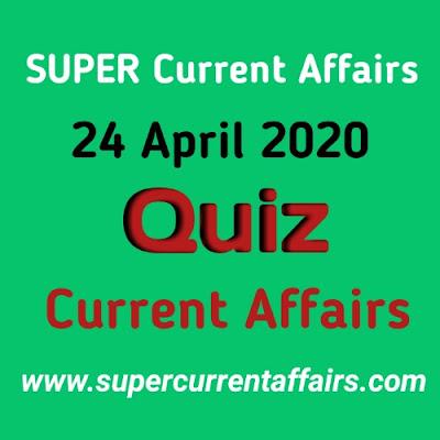 Current Affairs Quiz in Hindi - 24 April 2020