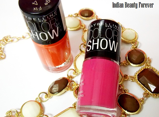 Maybelline color show Orange fix and Feisty Fuchsia nail paints swatches