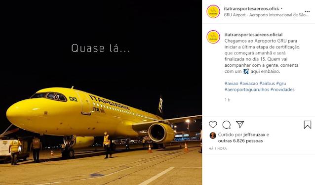 Itapemirim (ITA) acaba de pousar em Guarulhos para dar o início dos voos de certificação da ANAC durante a semana | É MAIS QUE VOAR