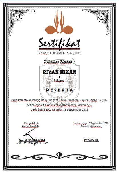 doanknesaga: contoh sertifikat pelantikan pramuka