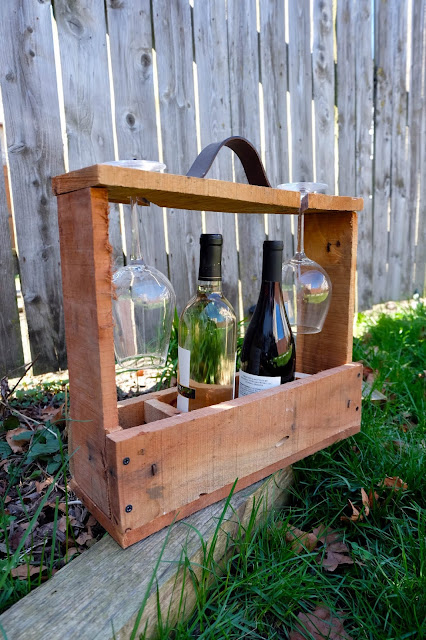 wood diy wine glasses bottles carrier tote