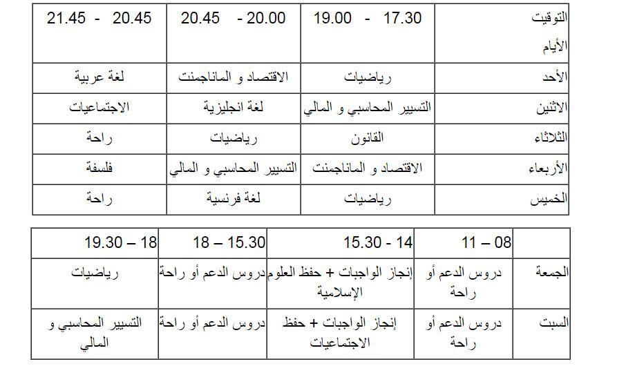 جدول زمني مقترح لتنظيم وقت المراجعة 3 ثانوي مدونة حلمنا العربي