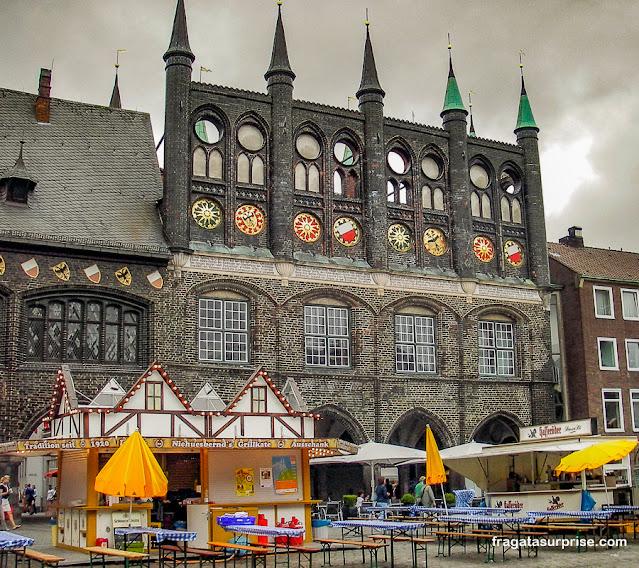 Praça do Mercado de A Praça do Mercado de Lübeck, Alemanha