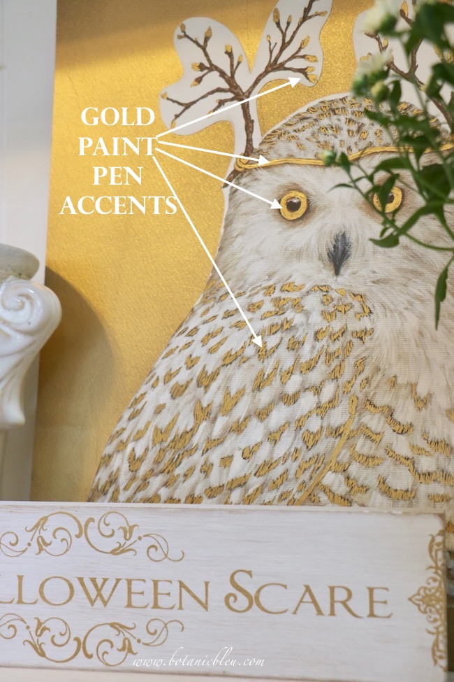 Gold paint pen adds gold accents to a beautiful white owl print for Halloween