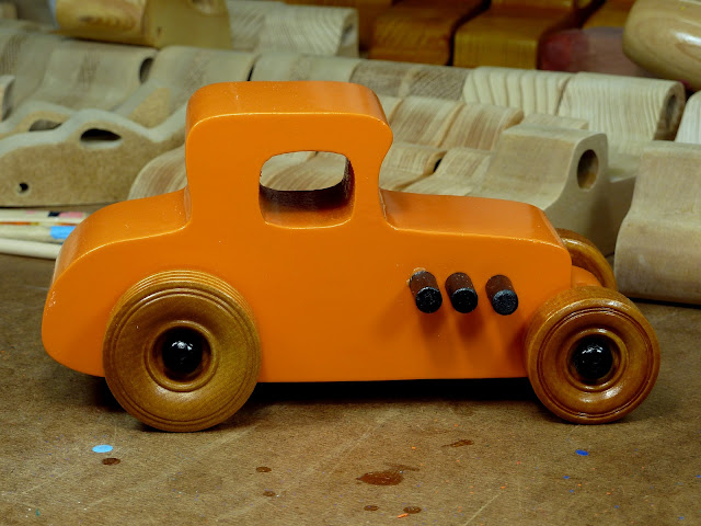 Handmade Wooden Toy Car Hot Rod 1927 T-Coupe From the Hot Rod Freaky Ford Series
