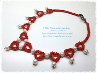 'Pearls among hearts' necklace