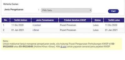 Semakan Status Kelulusan i-Sinar KWSP Online Mulai 4 Januari 2021 (Tarikh Bayaran)