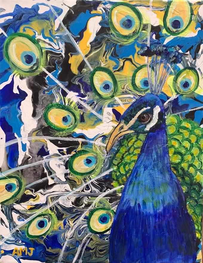 Pouring Peacocks- Original painting