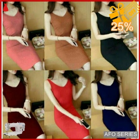 AFO122 Model Fashion V Dress Rajut Modis Murah BMGShop